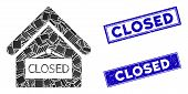 Mosaic Closed Office Pictogram And Rectangular Closed Rubber Prints. Flat Vector Closed Office Mosai poster