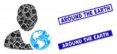 Mosaic International Manager Pictogram And Rectangle Around The Earth Stamps. Flat Vector Internatio poster