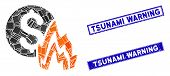 Mosaic Fire Disaster Price Pictogram And Rectangle Tsunami Warning Rubber Prints. Flat Vector Fire D poster