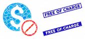 Mosaic Free Of Charge Icon And Rectangle Free Of Charge Seals. Flat Vector Free Of Charge Mosaic Ico poster