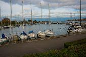 Copenhagen, Denmark: Luxury Speedboats Docked Along Side Of Wooden Promenade At Danish Capital Of Co poster