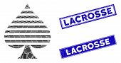 Mosaic Peaks Suit Pictogram And Rectangle Lacrosse Stamps. Flat Vector Peaks Suit Mosaic Pictogram O poster