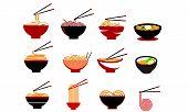 Sellection Noodle Food, Noodle Bowl Logo Vector poster