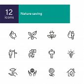 Nature Saving Line Icon Set. Set Of Line Icons On White Background. Ecology Concept. Leaf, Person, B poster