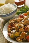 image of chinese food  - asian chop suey with salmon and prawn close up - JPG