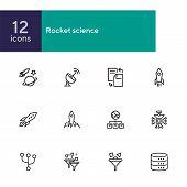 Rocket Science Line Icon Set. Spaceship, Rocket, Cosmic. Space Engineering Concept. Vector Illustrat poster