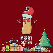 Vector Funky Comic Cartoon Cute Brown Smiling Santa Claus Potato With Red Santa Hat, Gifts, Tree And poster