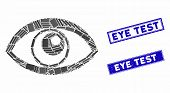 Mosaic Eye Pictogram And Rectangle Eye Test Stamps. Flat Vector Eye Mosaic Icon Of Scattered Rotated poster