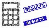 Mosaic Calculator Pictogram And Rectangular Results Seals. Flat Vector Calculator Mosaic Pictogram O poster