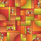 Artistic Pattern With Eyes In Geometric Shapes Grid Scandinavian Fashion Retro Textile Print. Patche poster