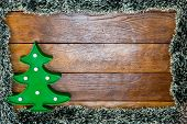 Christmas Composition On Wooden Board With Christmas Garland And Decorations. Creative Composition W poster
