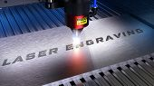 Metal Machining With Sparks On Cnc Laser Engraving Maching. 3d Rendering poster