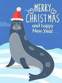 Merry Christmas And Happy New Year, Greeting Postcard. North Sea Calf, Seal Or Sea Lion Lies On Iceb poster