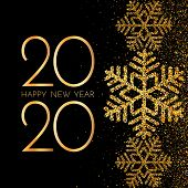 2020 Happy New Year. Golden Numbers, Glitter And Snowflakes On Dark Background. New Year 2020 Greeti poster