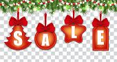 Set Labels For Holiday Christmas Sale And New Year On Ribbons With Red Bows Hanging On Christmas Tre poster