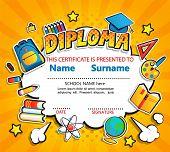 Kids Diploma Certificate On Retro Vintage Background. Template For Kindergarten, Preschool, Elementa poster