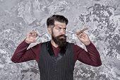 Proper Service. Facial Hair Care. Hiring Barber. Barber Equipment. Barber Salon. Man Bearded Hipster poster
