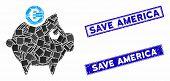 Mosaic Euro Piggy Bank Icon And Rectangular Save America Stamps. Flat Vector Euro Piggy Bank Mosaic  poster