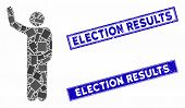 Mosaic Hello Pose Pictogram And Rectangular Election Results Seal Stamps. Flat Vector Hello Pose Mos poster