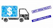 Mosaic Cash Delivery Car Pictogram And Rectangle Anti-spam Policy Stamps. Flat Vector Cash Delivery  poster