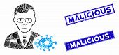 Mosaic Bacteriologist Pictogram And Rectangular Malicious Stamps. Flat Vector Bacteriologist Mosaic  poster
