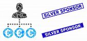 Mosaic Euro Payer Pictogram And Rectangle Silver Sponsor Rubber Prints. Flat Vector Euro Payer Mosai poster