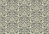 Wallpaper In The Style Of Baroque. Seamless Vector Background. Grey Floral Ornament. Graphic Pattern poster