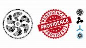 Mosaic Turbine Icon And Distressed Stamp Seal With Providence Caption. Mosaic Vector Is Created From poster