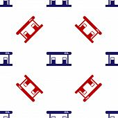 Blue And Red Gas Filling Station Icon Isolated Seamless Pattern On White Background. Transport Relat poster