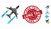 Mosaic Air Jet Trace Icon And Distressed Stamp Seal With Long Tail Text. Mosaic Vector Is Designed W poster