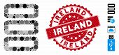 Mosaic Database Icon And Grunge Stamp Watermark With Ireland Caption. Mosaic Vector Is Composed With poster