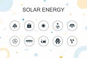 Solar Energy Trendy Infographic Template. Thin Line Design With Sun, Battery, Renewable Energy, Clea poster