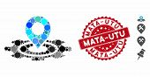 Mosaic Industrial Map Marker Icon And Rubber Stamp Seal With Mata-utu Phrase. Mosaic Vector Is Compo poster