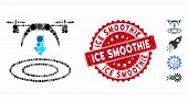 Mosaic Copter Arrival Icon And Distressed Stamp Seal With Ice Smoothie Text. Mosaic Vector Is Compos poster