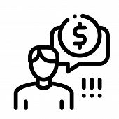 Man Persistently Waiting For Salary Icon Vector. Outline Man Persistently Waiting For Salary Sign. I poster