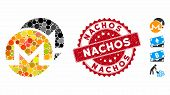 Mosaic Monero Coins Icon And Grunge Stamp Watermark With Nachos Phrase. Mosaic Vector Is Composed Fr poster
