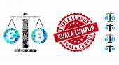 Mosaic Euro And Bitcoin Scales Icon And Grunge Stamp Watermark With Kuala Lumpur Caption. Mosaic Vec poster