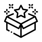 Star Bonus Box Icon Vector. Outline Star Bonus Box Sign. Isolated Contour Symbol Illustration poster