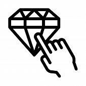 Bonus Diamond Selection Icon Vector. Outline Bonus Diamond Selection Sign. Isolated Contour Symbol I poster