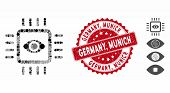 Mosaic Bionic Vision Chip Icon And Distressed Stamp Watermark With Germany, Munich Text. Mosaic Vect poster