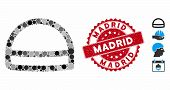 Mosaic Hardhat Icon And Grunge Stamp Watermark With Madrid Caption. Mosaic Vector Is Composed With H poster