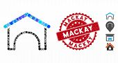 Mosaic Hangar Icon And Corroded Stamp Seal With Mackay Text. Mosaic Vector Is Composed From Hangar I poster
