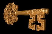 Ornate Gold Key At An Angle