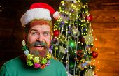 Santa Claus. Winter Holidays. Christmas Decoration. Decorated Beard. Bearded Man With Decorated Bear poster