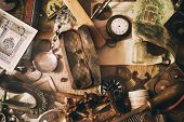 Different Antique Items On The Table: Old Pocket Watches, Banknotes And Coins Of The Russian Empire, poster