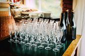 Toasting Many Glasses For Anniversaries Empty Goblets Chalices Before The Toast At The Restaurant To poster