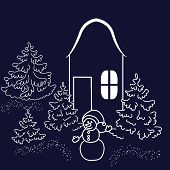 Wonderland House In The Forest At Christmas Eve. Laser Cut. Doodle Vector Illustration. Template For poster