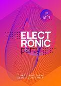 Music Fest. Dynamic Gradient Shape And Line. Digital Show Invitation Layout. Music Fest Neon Flyer.  poster