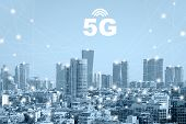 Communication Network Concept 5g Smart City On Blue Background. Modern City With Wireless Network Co poster