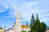 Spire Of The Famous Matthias Church In Budapest, Hungary. Roman Catholic Church Built In The Gothic  poster